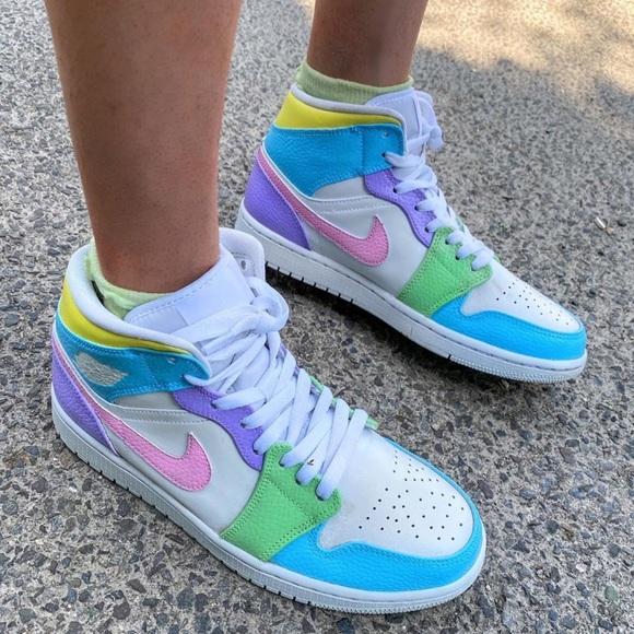 Nike air jordan 1 mid custom multi color